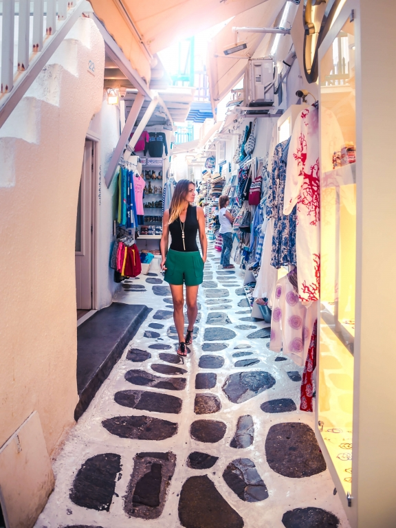 mykonos greece street walk